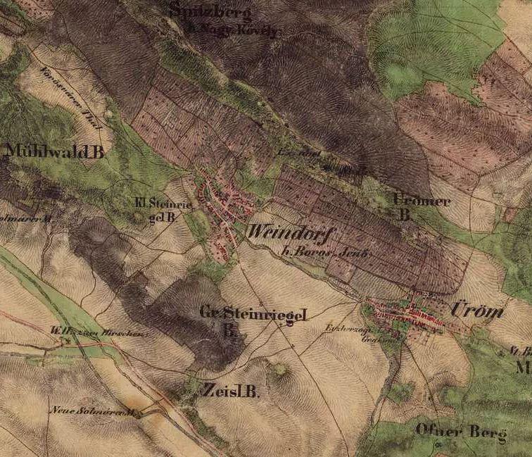 Pilisborosjenő térképe 150 évvel ezelőttről