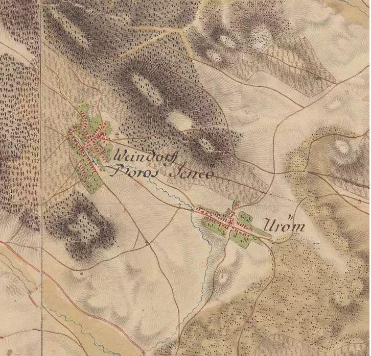 Pilisborosjenő térképe 250 évvel ezelőttről