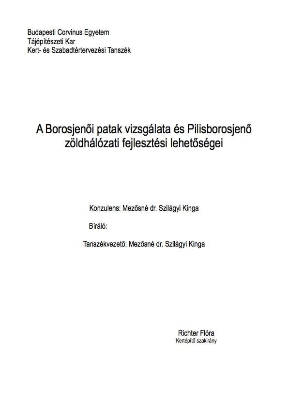 A Borosjenői patak vizsgálata és Pilisborosjenő zöldhálózati fejlesztési lehetőségei - szakdolgozat