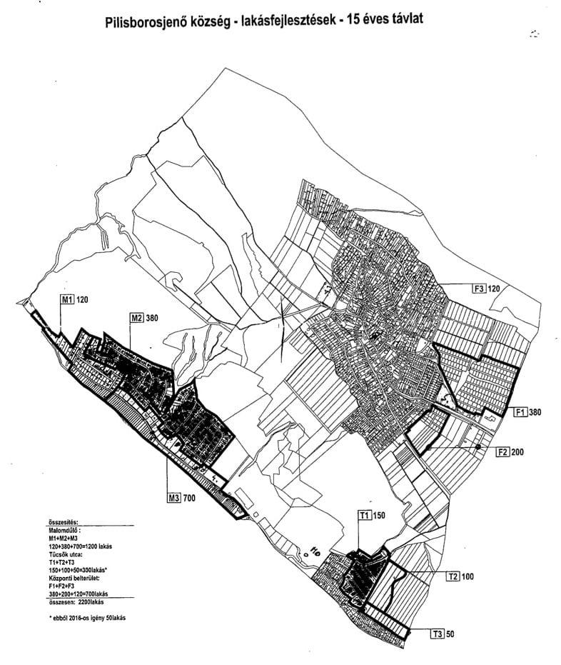 Tervezett lakóterület fejlesztések