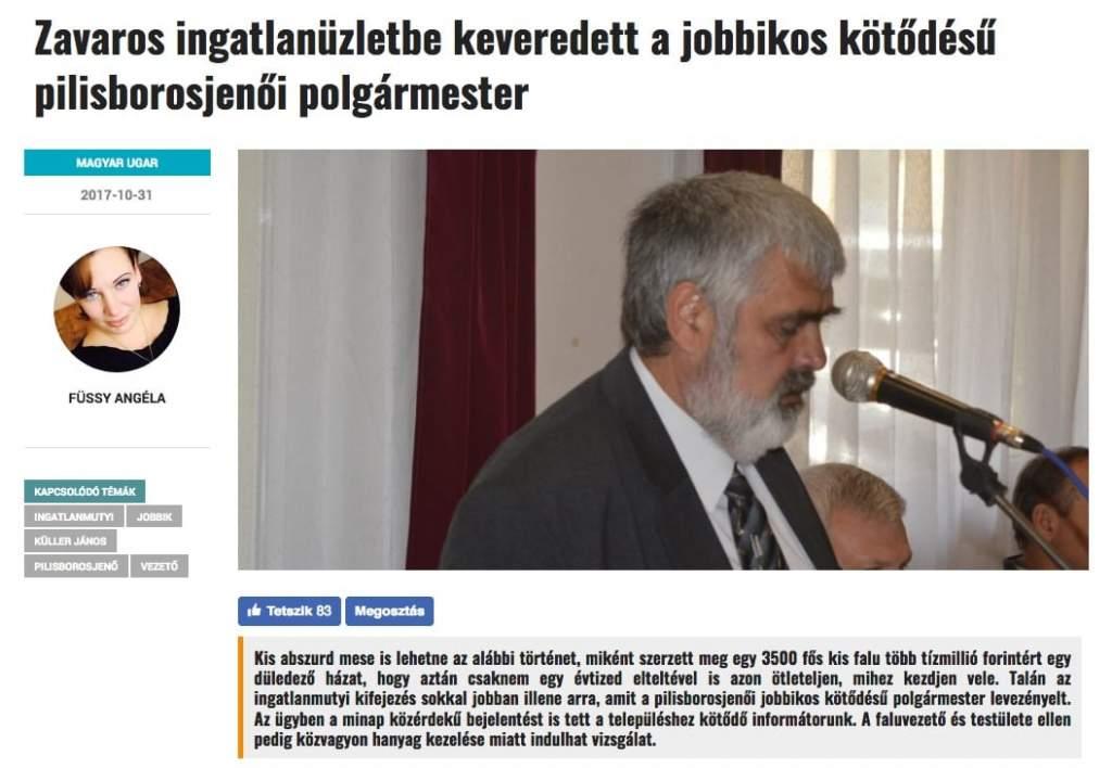 Zavaros ingatlanüzletbe keveredett a jobbikos kötődésű pilisborosjenői polgármester